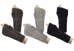 3-4 Pairs Fingerless Gloves Arm Warmers for Women Knit Hand Crochet Winter Warm Mittens