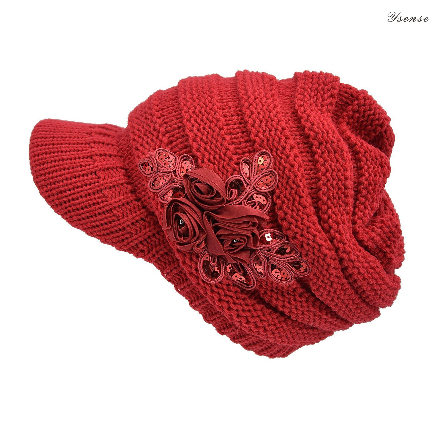 YSense - Women's Cable Knit Newsboy Visor Cap Hat with Sequined Flower