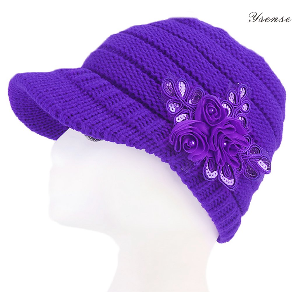 Women Winter Warm Cable Knit Beanie Hats Newsboy Cap Visor with Sequined Flower